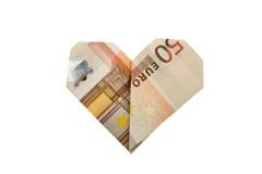 50-Euro - Schein (Herz-förmig) Lizenzfreies Stockbild