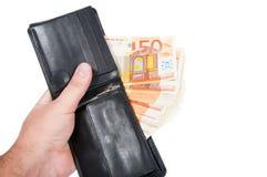 50-Euro - Scheine in einem Aktenkoffer Stockbilder