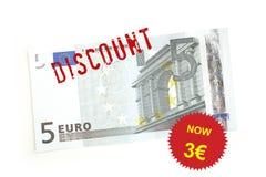 Euro sconto Fotografia Stock Libera da Diritti