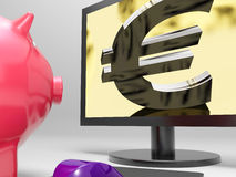 Euro Screen Shows Finance Wealth And Prosperity Royalty Free Stock Photo