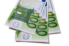 Euro 100 sedlar Arkivbild