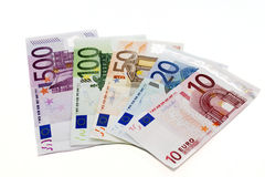 Euro sedlarna Arkivbild