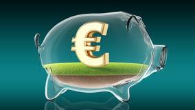 Euro segno dentro il porcellino salvadanaio trasparente rappresentazione 3d Immagine Stock Libera da Diritti