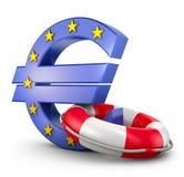 Euro segno e salvagente Fotografia Stock Libera da Diritti