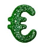 Euro segno fatto di plastica verde con i fori astratti isolati su fondo bianco 3d Immagine Stock