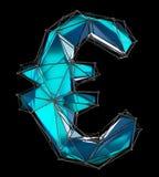 Euro segno fatto nel colore blu di poli stile basso isolato su fondo nero Fotografie Stock