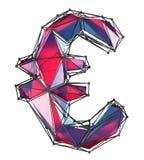 Euro segno fatto nel colore rosso di poli stile basso isolato su fondo bianco Fotografia Stock