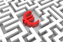 Euro segno rosso nel labirinto. Fotografie Stock Libere da Diritti
