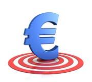Euro segno sull'obiettivo Fotografia Stock Libera da Diritti