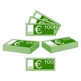 Euro set. Abstract contours of Euro. Set on a white background stock illustration