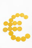 Euro shape from gold coins Stock Image