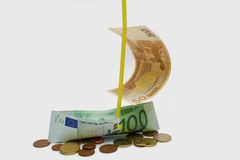 Euro ship. Euro banknotes in form of ship Royalty Free Stock Photography