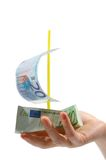 Euro ship. Euro banknotes in form of ship Stock Photos