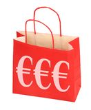 Euro shopping bag. Empty red shopping bag with Euro signs or symbols on side Stock Images