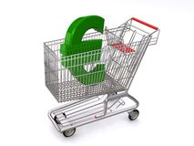 Euro in shopping cart Stock Photo
