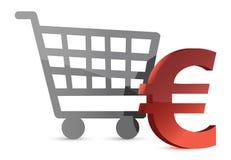 Euro shopping cart Royalty Free Stock Photos