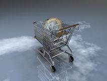 Euro shopping cart Stock Photo