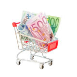 Euro in shopping cart Stock Images