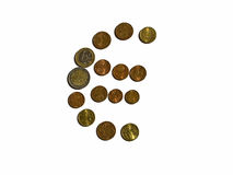 Euro sign. Made of coins on white background royalty free stock photos