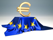 Euro sign. Sitting on European Union flag - 3d render Royalty Free Stock Photography