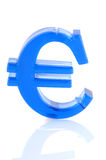 Euro sign. Blue Euro sign isolated over white background royalty free stock photo