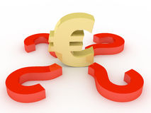 Euro sign. In an environment of questions Stock Photos
