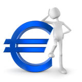 Euro sign. 3D character with euro sign Stock Photos