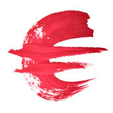 Euro sign. Red handwritten euro sign over white background Stock Photos