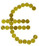 Euro sign. Made of golden coins royalty free stock image