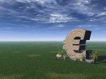 Euro sign. On a green field - 3d illustration Royalty Free Stock Images