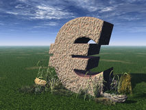 Euro sign. On a green field - 3d illustration Royalty Free Stock Image