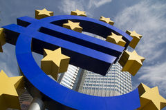 Euro Sign. The Famous Big Euro Sign at the European Central Bank royalty free stock photography