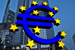 Euro Sign. FRANKFURT, GERMANY - AUG 21: The Famous Big Euro Sign at the European Central Bank on August 21, 2012 in Frankfurt, Germany. The bank was established royalty free stock photo