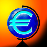 Euro sign. On the world vector illustration