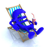 Euro sign above beach chair Royalty Free Stock Images