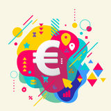 Euro sign on abstract colorful spotted background with different Stock Photos