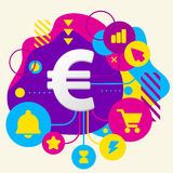 Euro sign on abstract colorful spotted background with different Royalty Free Stock Images