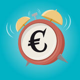 Euro sign alarm clock. Euro sign cartoon alarm clock Royalty Free Stock Photo