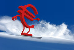 Euro sign with arms and legs that is snowboarding Royalty Free Stock Photo