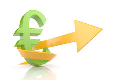 Euro sign with arrow. Symbolize growth Royalty Free Stock Images