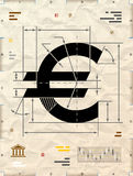 Euro sign as technical blueprint drawing Royalty Free Stock Image