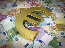 Euro sign and banknotes. 3d render golden euro symbol on euro sign and banknotes (close-up stock illustration