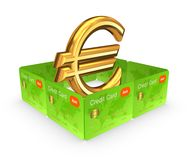 Euro sign behind the wall of credit cards. Royalty Free Stock Photo