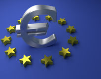 Euro sign on a blue background, 3d rendering Stock Image