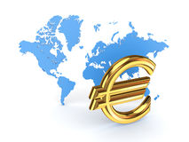 Euro sign and blue map. Stock Photos
