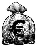 Euro Sign Burlap Sack or Money Bag Royalty Free Stock Photography