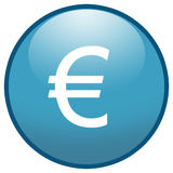 Euro sign Button Icon (Blue) Stock Images