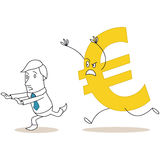 Euro sign chasing scared cartoon businessman Royalty Free Stock Photos