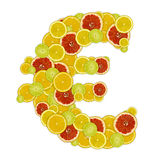 Euro sign of citrus fruit slices Royalty Free Stock Photo