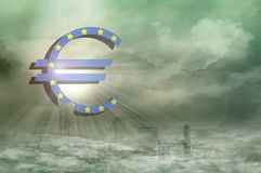 Euro sign. In the city stock photography